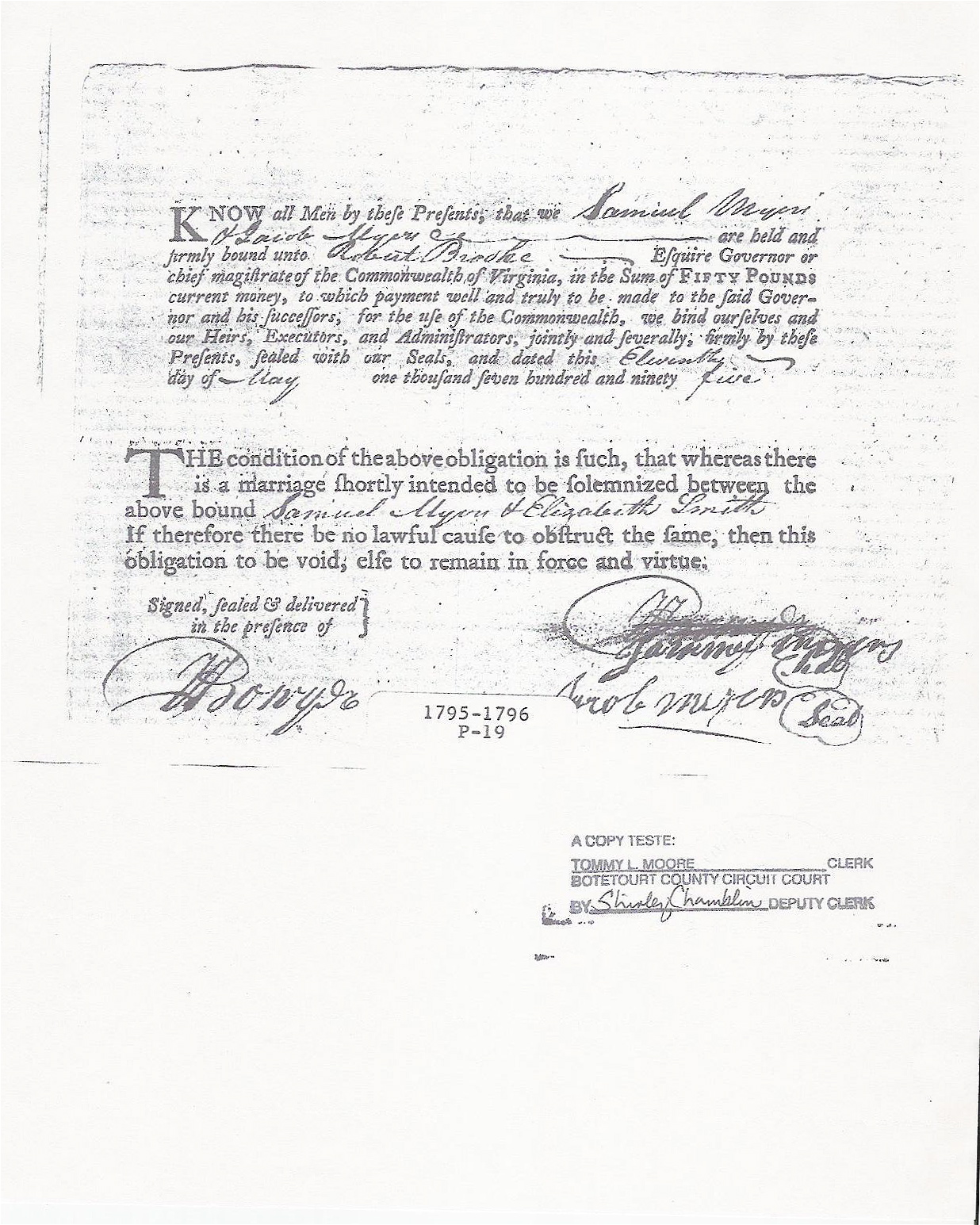 Samuel Myers Marriage Bond 11 May 1795